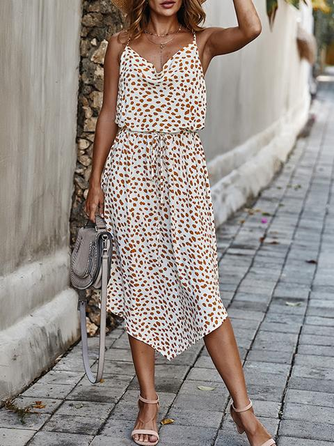 Casual Print Sleeveless Long Dress