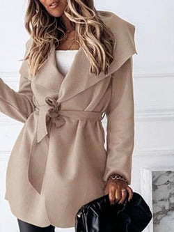 Casual Solid Lace-up Waist Trench Coat