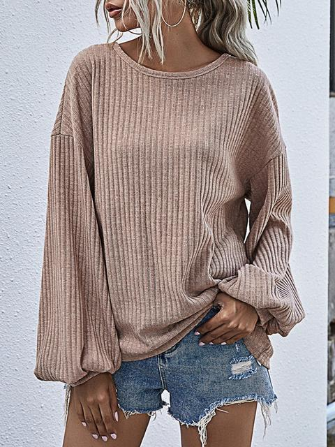 Casual Solid Round Neck Knit Sweater