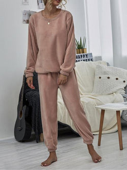 Casual Solid Round Neck Sweatshirt Set