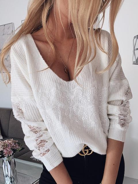 Casual V Neck Short Solid Sweater