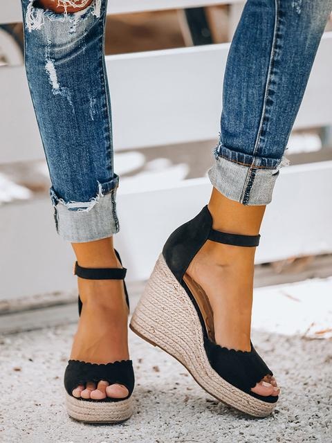 Casual Wedge Solid Shoes