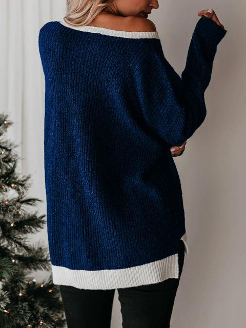 Color Block Casual Knitting Sweater