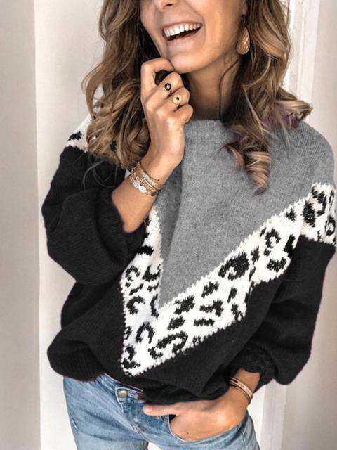 Color Block Leopard Long Sleeve Sweater