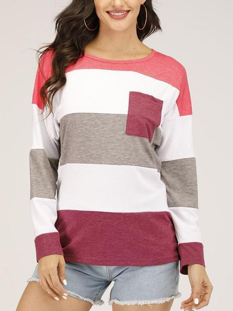Color Block Round Neck Knit Pocket Sweater
