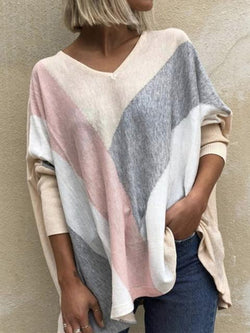 Colorful Print V-neck Loose Tops