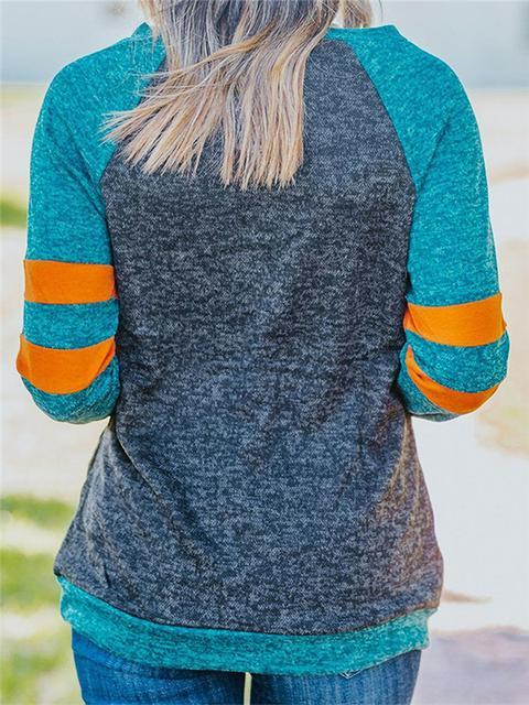Contrast Color Long Sleeve Sweatshirt
