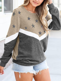 Contrast Color Stars Print Pullover
