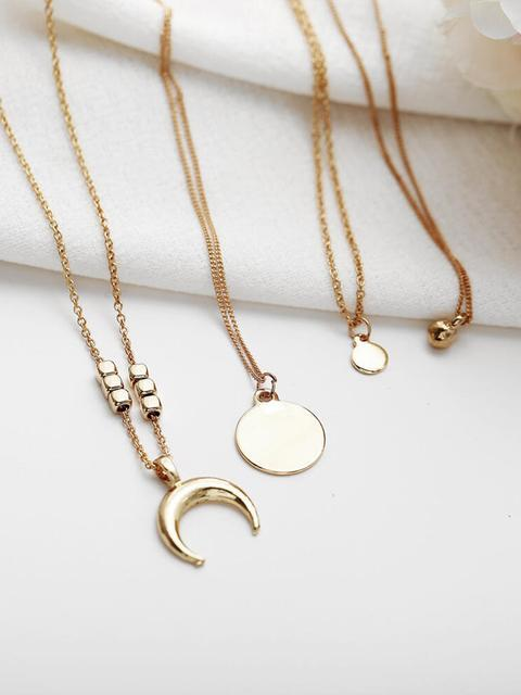 Crescent Moon Bead Multi-Layered Necklace