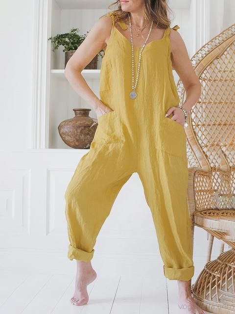 Solid Color Lace Up Overalls With Pockets