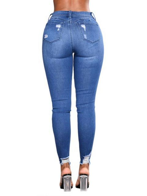 Denim Flower Print Slim Jeans