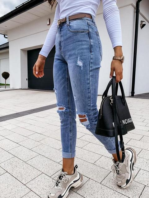 Denim Ripped Tassel Long Casual Jeans