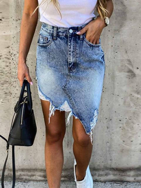 Denim Slim Irregular Tassel Skirt