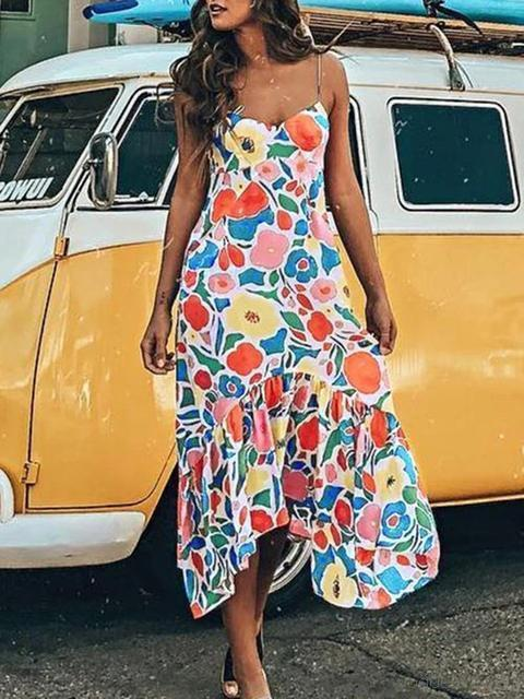 Floral Pattern Strap V Neck Midi Dress