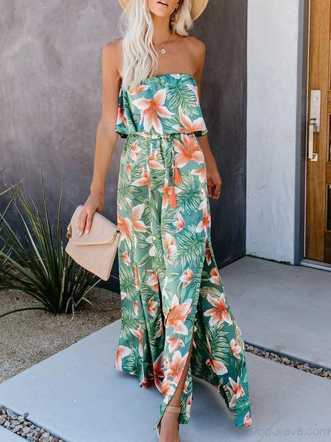 Flowers Printed Ruffled Split Maxi Dress