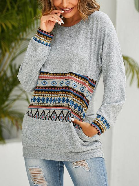 Ethnic Graphic Long Sleeve Pullover