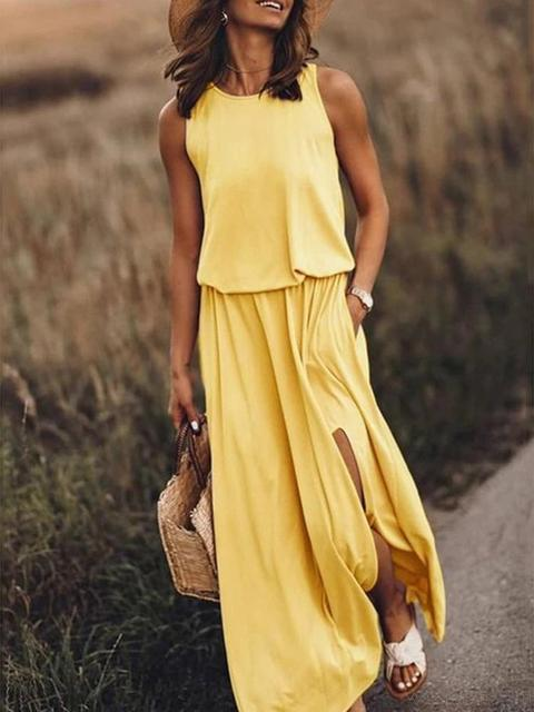 Solid Color Sleeveless Split Maxi Dress