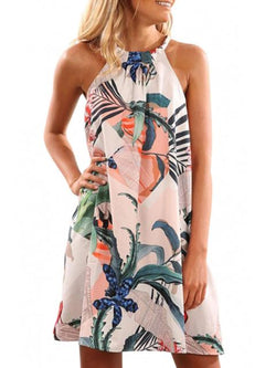 Halter Print Sleeveless Mini Dress