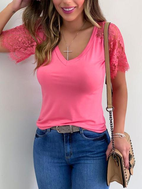 Lace Short Sleeve Casual T-Shirt