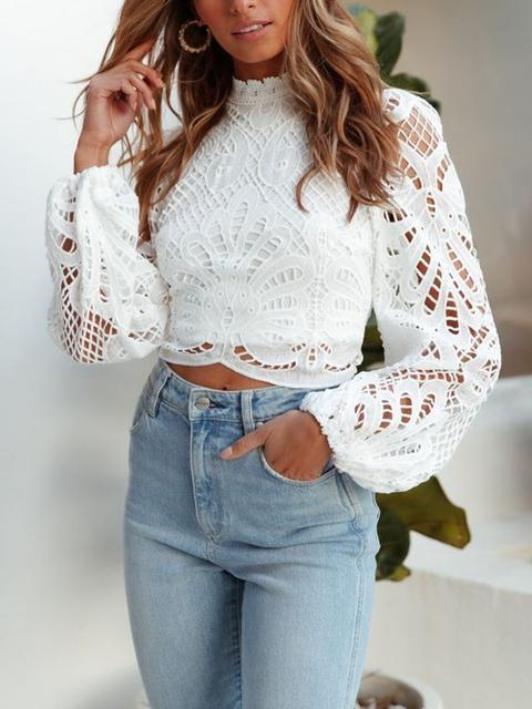 Lace Solid Regular Tops
