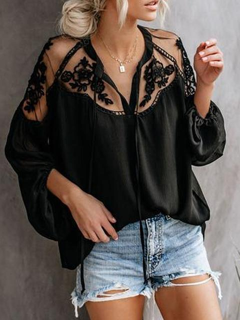 Lace Stitched Transparent Long Sleeve Tops