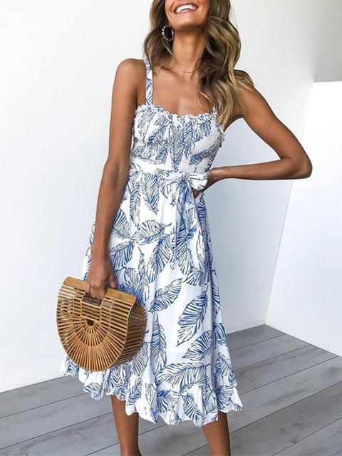 Leaf Flower Print Sleeveless Long Dress