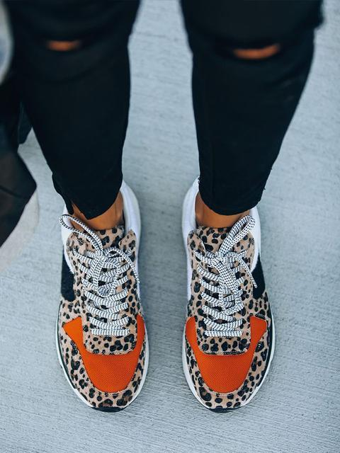 Leopard Color Block Casual Sneakers