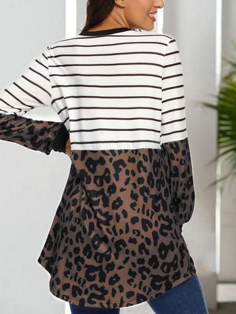 Leopard Patchwork Stripes Print Tops