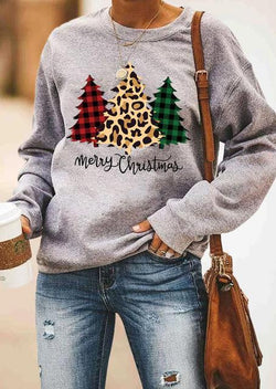 Leopard Plaid Christmas Print Sweatshirt