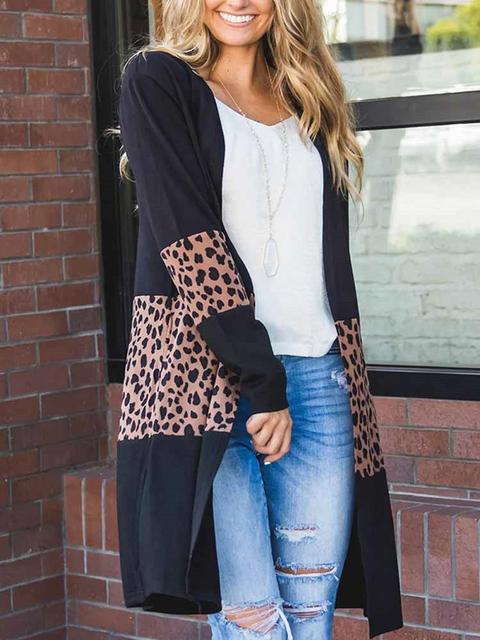 Leopard Splicing Colorblock Cardigan