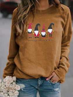 Long Sleeve Dwarf Print Christmas Tops