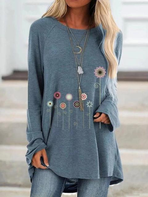 Long Sleeve Floral Print Tunic Tops
