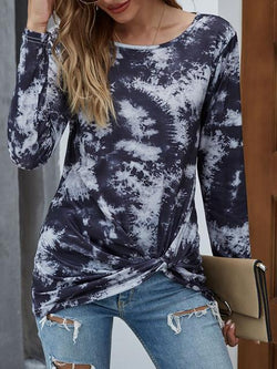 Long Sleeve Tie-dye Print Twisted Tops
