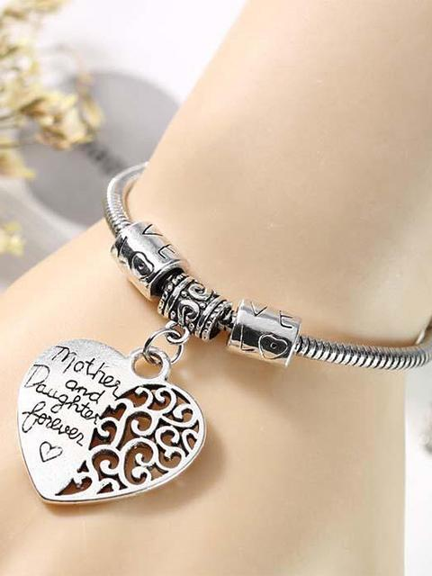 Mother And Daugther Love Heart Pendant Bracelet