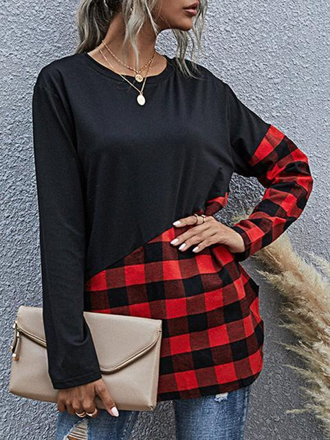 Pattern Long Sleeve Plaid Patchwork Tops