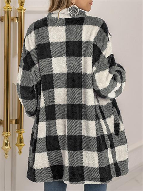 Plaid Print Plush Long Coat