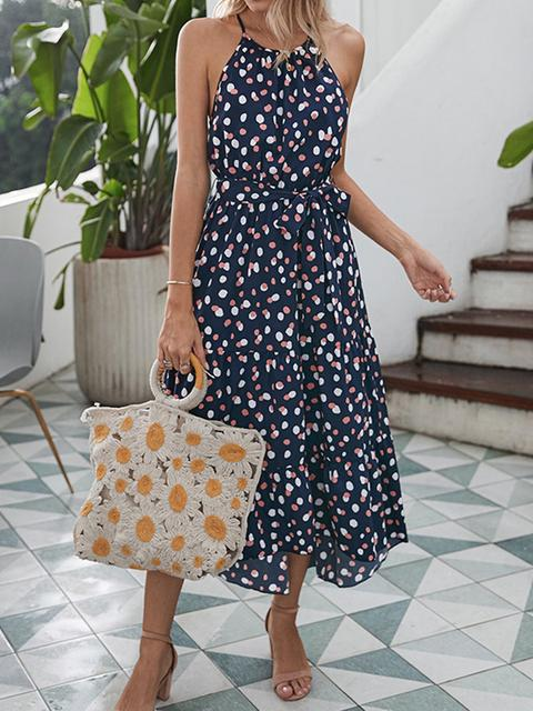 Polka Dot Print Long Dress