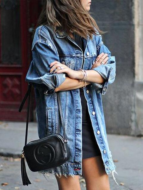 Ripped Boyfriend Long Denim Jacket