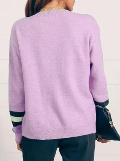 Round Neck Contrast Color Tops
