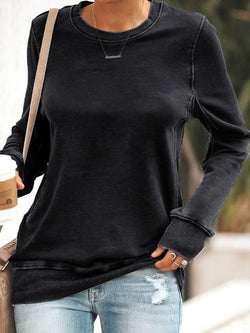Round Neck Loose Pullover Tops