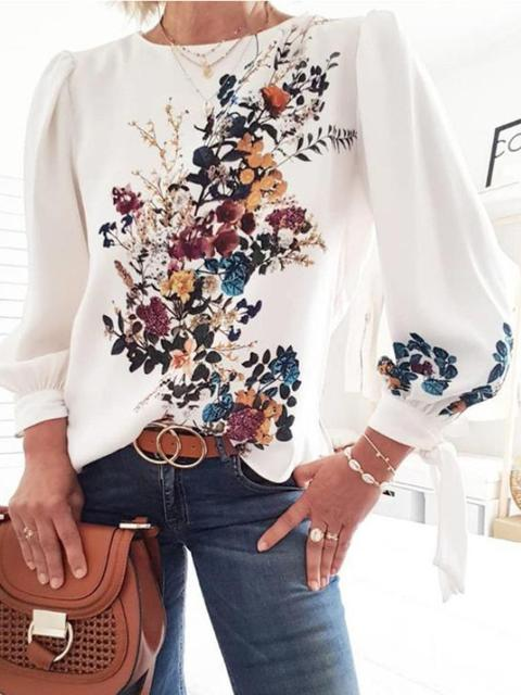 Round Neck Print Pullover Blouse