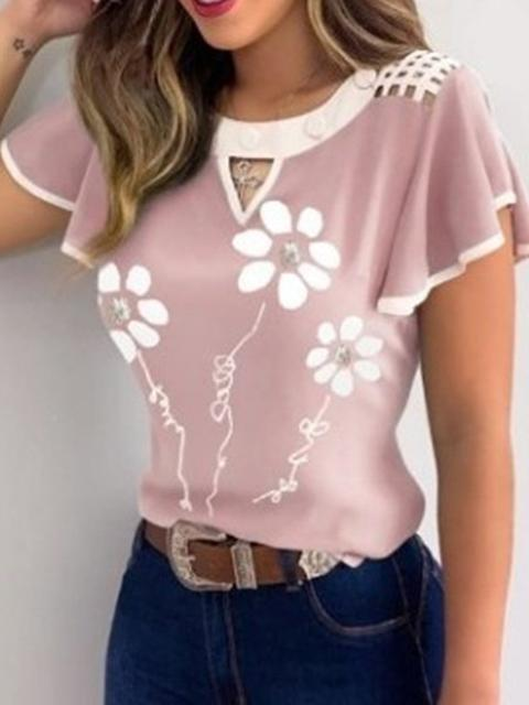 Short Sleeve Flower Print T-shirt