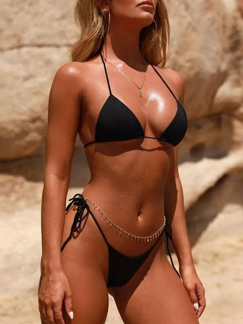 Solid Color Knotted Bikini Set