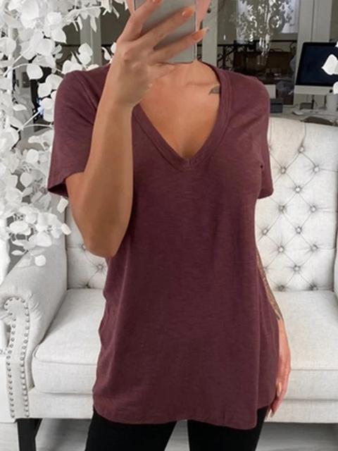 Solid Color V-neck Short Sleeve Tops