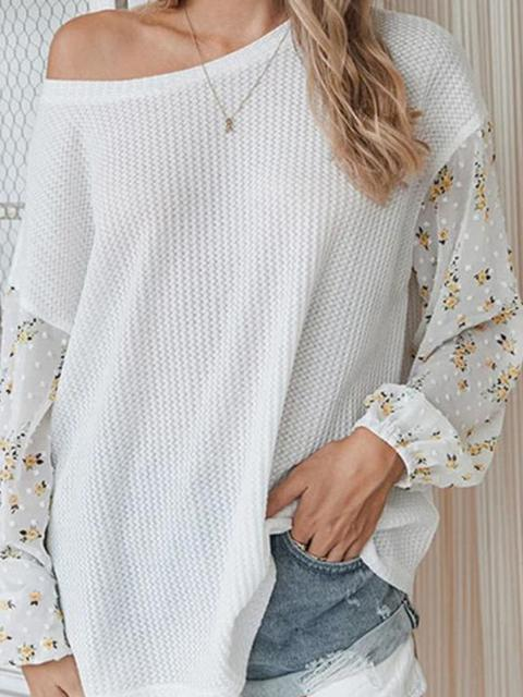 Stitching Floral Sleeve Casual Sweater