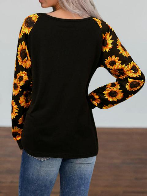 Sunflower Print Sleeve Casual Tops