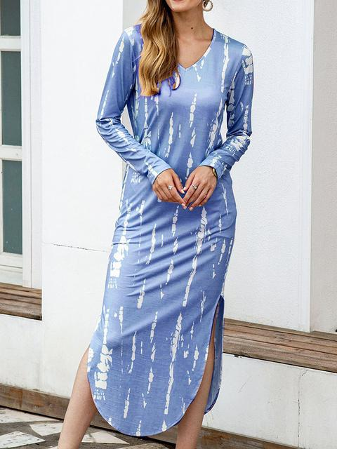 Tie-dye Long Sleeve Slim Dress