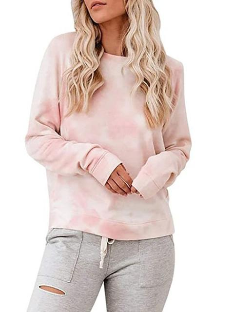 Tie-dye Print Round Neck Casual  Sweater