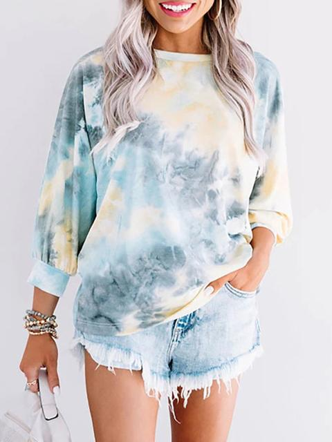Tie-dye Round Neck Backless Tops