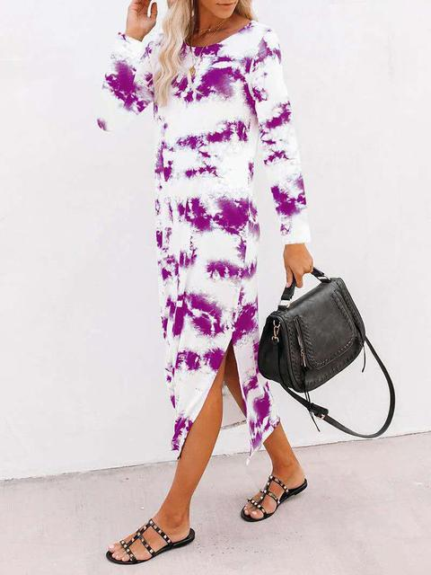 Tie-dye Round Neck Long Dress